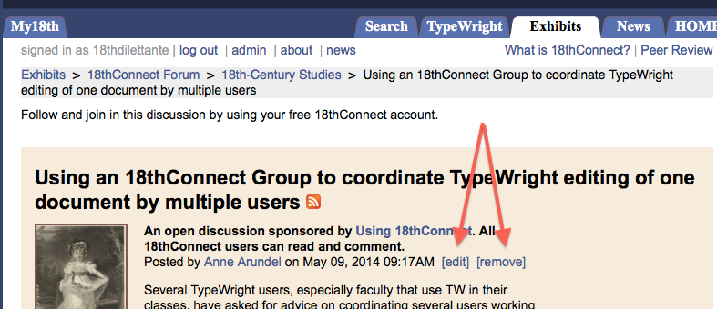 """Figure 13 Group discussion topic with """"[edit]"""" and """"[remove]"""" highlighted"""