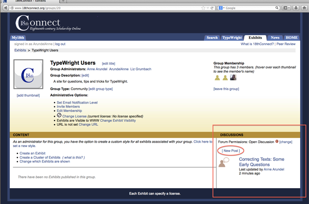 """Figure 6 Group page for Administrators, with """"Discussions"""" section and """"[New Post] link highlighted"""