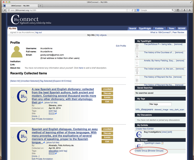 """Figure 3 """"My18th"""" page, with My Groups: """"Create"""" and Browse"""" links highlighted"""