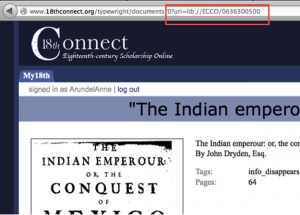 Figure 9 URI as it appears in the address of the Document Home page